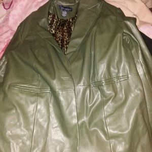 Faux  leather jacket olive green